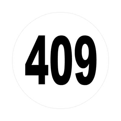 number 409 white black sticker