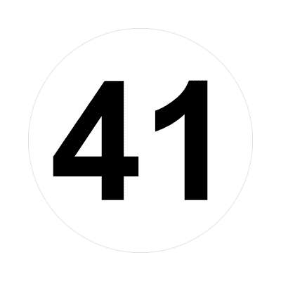 number 41 white black sticker
