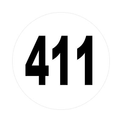 number 411 white black sticker