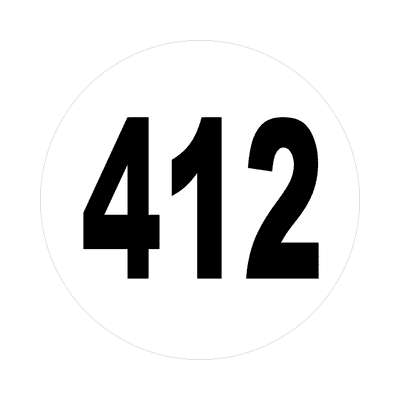 number 412 white black sticker