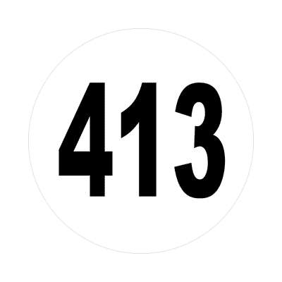 number 413 white black sticker