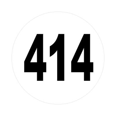 number 414 white black sticker