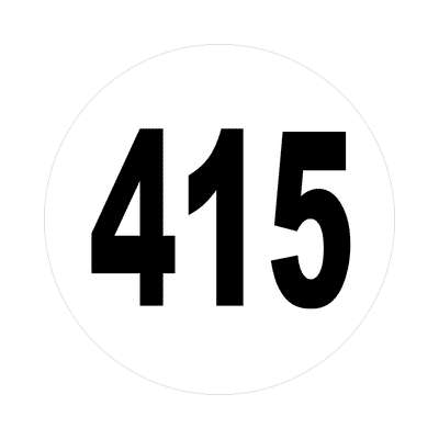 number 415 white black sticker
