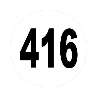 number 416 white black sticker