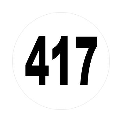 number 417 white black sticker
