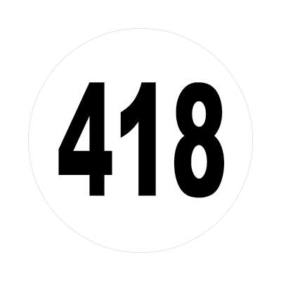 number 418 white black sticker