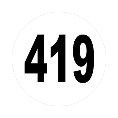 number 419 white black sticker