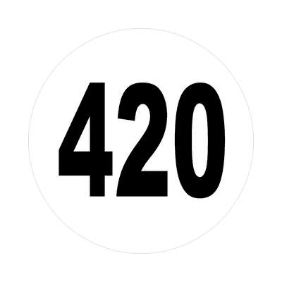 number 420 white black sticker