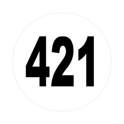 number 421 white black sticker