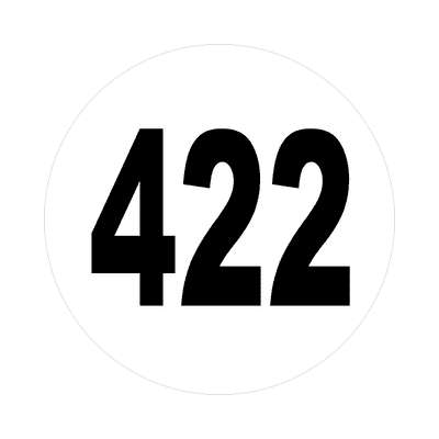 number 422 white black sticker