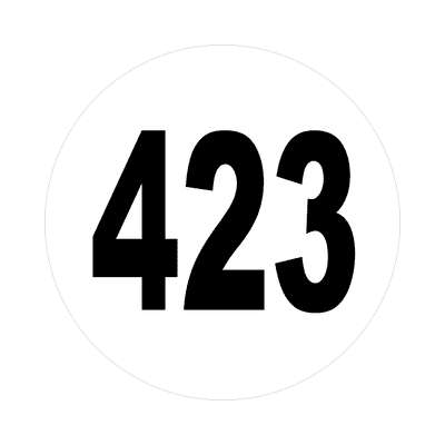 number 423 white black sticker