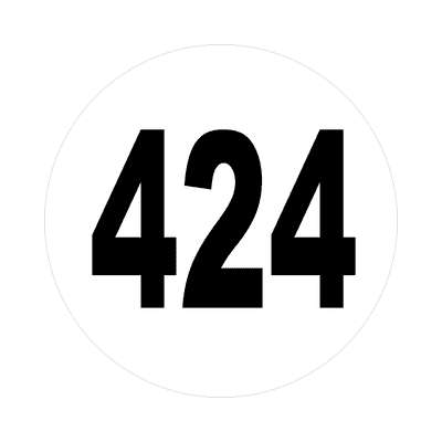 number 424 white black sticker