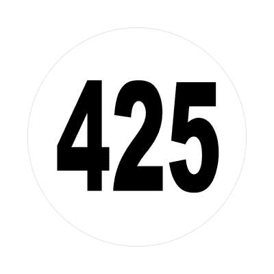 number 425 white black sticker