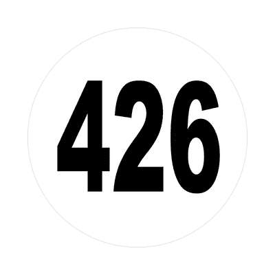 number 426 white black sticker