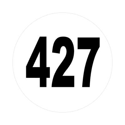number 427 white black sticker