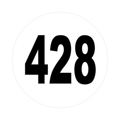 number 428 white black sticker