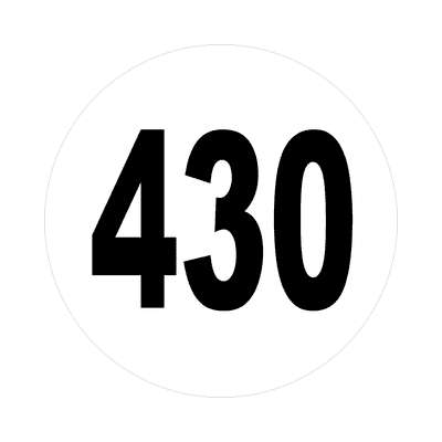 number 430 white black sticker