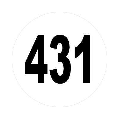 number 431 white black sticker