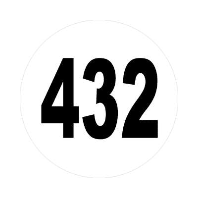number 432 white black sticker