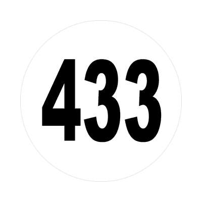 number 433 white black sticker