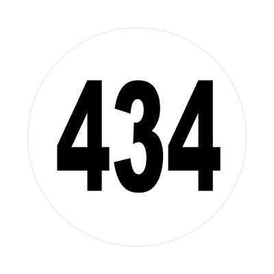 number 434 white black sticker