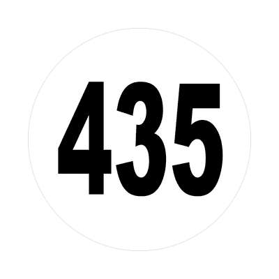 number 435 white black sticker