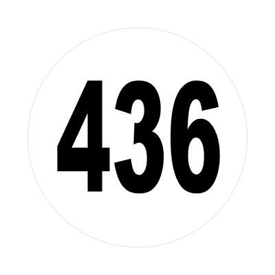 number 436 white black sticker