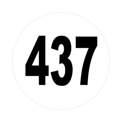 number 437 white black sticker