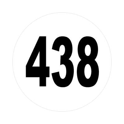 number 438 white black sticker