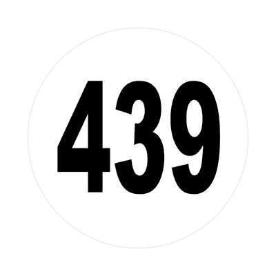 number 439 white black sticker