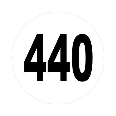 number 440 white black sticker