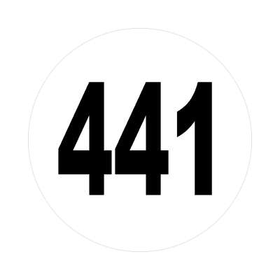 number 441 white black sticker