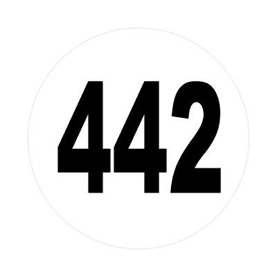 number 442 white black sticker