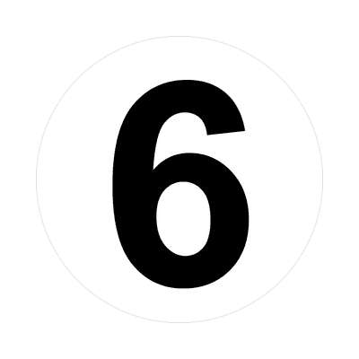 number 6 white black sticker