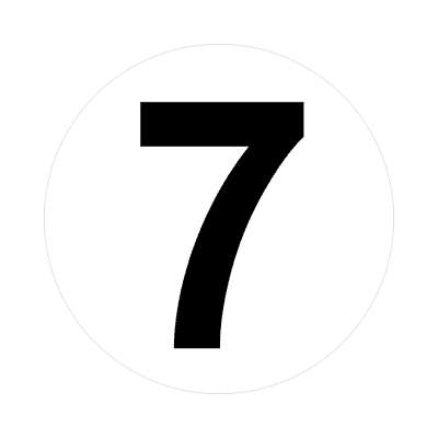 number 7 white black sticker