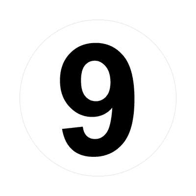 number 9 white black sticker