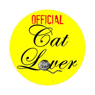 official cat lover yarn cursive sticker