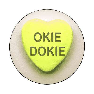 okie dokie valentines day heart candy magnet