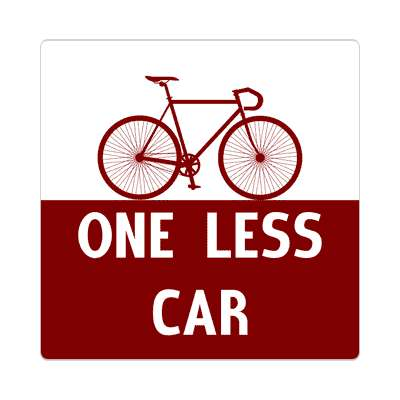 one less car silhouette bicycle sticker