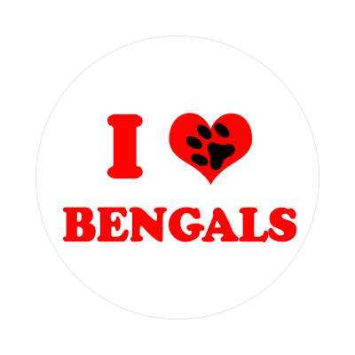 paw print i heart bengals sticker