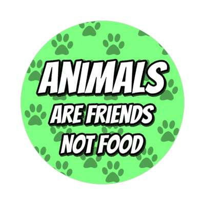 paw prints animals are friends not food green sticker