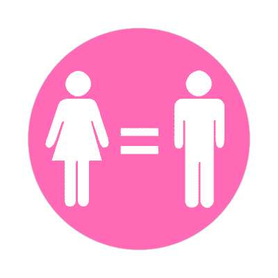pink symbols women and men equality sticker