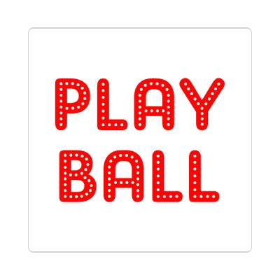 play ball classic white sticker