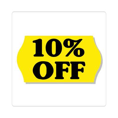 pricetag 10 percent off sticker