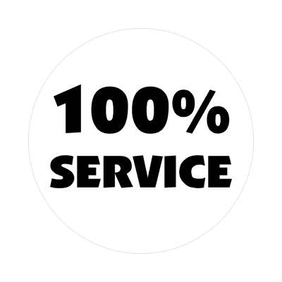 pricetag 100 percent service sticker