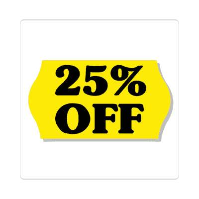 pricetag 25 percent off sticker