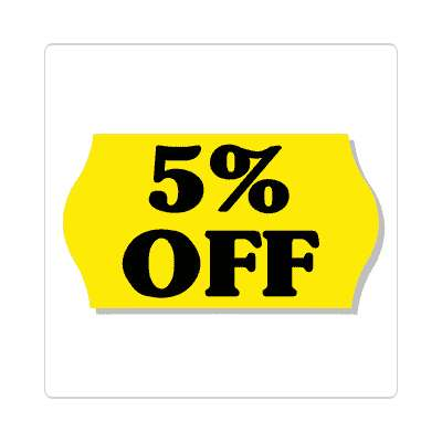 pricetag 5 percent off sticker