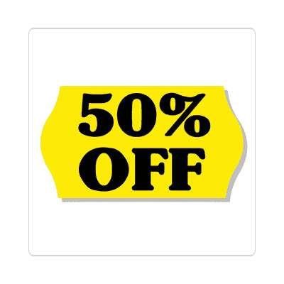pricetag 50 percent off sticker