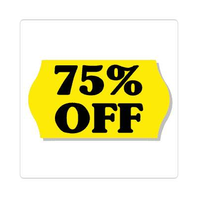 pricetag 75 percent off sticker