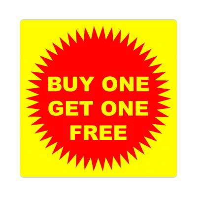 pricetag buy one get one free sticker